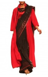 Red Woolen Jacket Floor Length