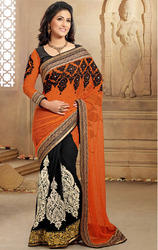 Black+and+Orange+Faux+Georgette+and+Net+Saree+with+Blouse
