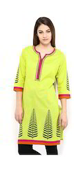 Cotton Camric Screen Print Kurta With Pasiley