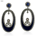 pave diamond enamel dangle earrings