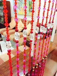 Red and Pink Acrylic Beaded Curtain
