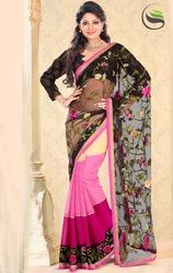 Black+Cream+and+Shaded+Pink+Net+and+Art+Silk+saree
