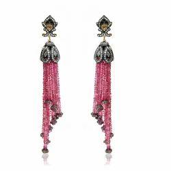 Pink+Tourmaline+Diamond+Cut+Tassel+Earring