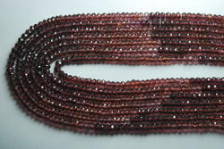 Red Garnet Sheted Micro Faceted Rondelles Strand 14 ''