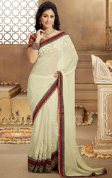 Creamish+Off+White+Color+Faux+Georgette+Saree+with+Blouse