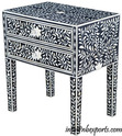 Mother Of Pearl Inlay Side Table In Black