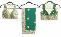 Marvellous+Bottle+Green+Saree+Blouse