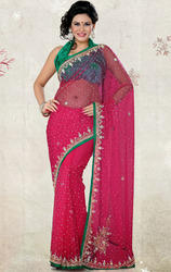 Redish+Pink+Color+Shimmer+Net+Saree+with+Blouse