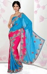 Turquoise+and+Rani+Pink+Color+Satin+Chiffon+Ready+Saree