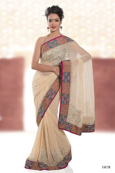 Cream Colour Designer Sarees