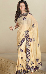 Cream+Color+Shimmer+Saree+with+Blouse