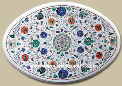 White Marble Inlay Oval Table Top