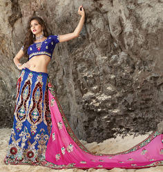 Half Net & Half Georgette Saree Pal-2200