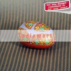 Chinar Leaf on Egg Shaped Hand Painted Box