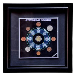 8 World Coins with Framing