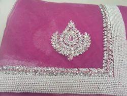 Pink+Pearl+Kundan+Saree