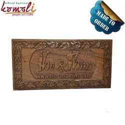handcarved walnut wood customized plaque name plate