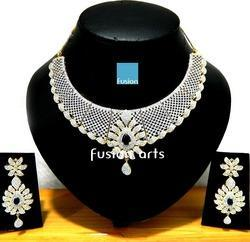 American Diamond Studded Designer Necklace Set