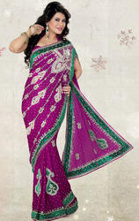 Magenta+Color+Satin+Chiffon+Saree+with+Blouse