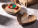 Heart Shaped Wooden Carved Trays