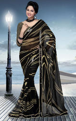 Black+and+Cream+Faux+Georgette+Saree+with+Blouse