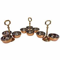 Copper 2,3 & 4 Bowl Pickle Chutney Condiment Stand