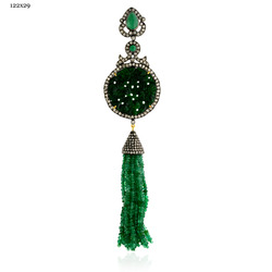 Emerald Gemstone Tassel Pendant Jewelry