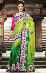 Shaded+Green+Color+Crepe+Jacquard+Saree