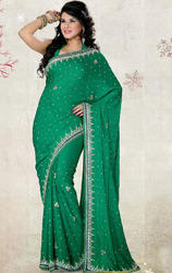 Rama+Green+Color+Satin+Chiffon+Saree+with+Blouse
