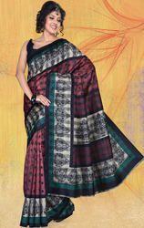 DarkPink%2C+Grey+Art+Bhagalpuri+Silk+Printed+Saree+with+Blouse