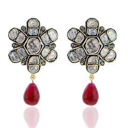 Rose Cut Diamond Ruby Gemstone Earrings