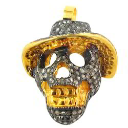 10k gold diamond studded skull fashion finding