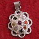 Silver Fancy Navagraha Gemstone Pendant