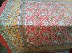 block printed red cock design bed sheet