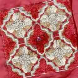 Red Embroidered Chennile Work