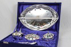 Silver Tray with 3 Bowls