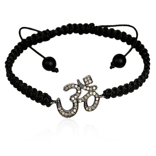 Diamond OM Charm Macrame Bracelet