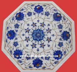 Semi Precious Lapis Lazuli Marble Inlay Table Top