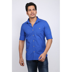Fancy Blue Mens Cotton Shirts