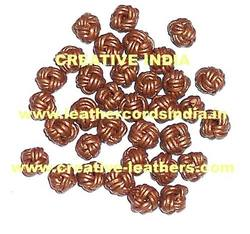 Metallic Leather Braided Beads