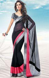 Black+Color+Faux+Chiffon+Saree+with+Blouse