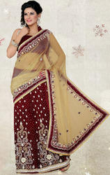 Beige+%26+Maroon+Color+Net+%26+Velvet+Lehenga+Saree+with+Blouse
