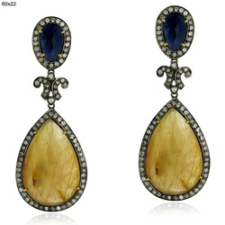 Pave Diamond Blue Sapphire Gemstone Earrings