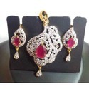 Purple Color with White Stone Kundan Earrings with Mang Tika
