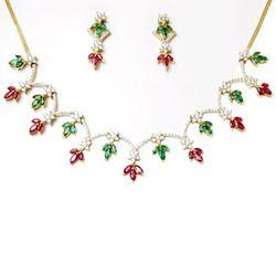 designer gold gemstone necklace set