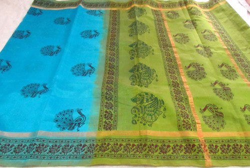 Block Print Silk Cotton Hand Weaved Sarees (SPC-PCK 10)