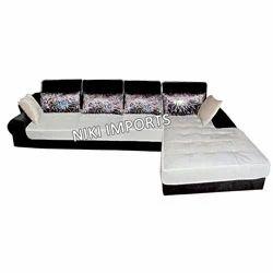 Stylish Head Rest Corner Sofa Set - Fabric