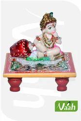 Vaah Painted Marble Chowki Ladoo Gopal