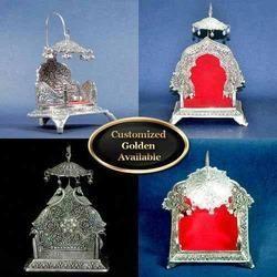 Puja Singhasan - White Metal Religious Product