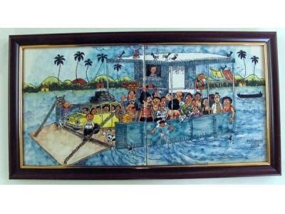 Hand Painted Tiles - Ferry Boat Painted Tile Manufacturer from Goa